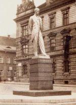 Původní pomník TGM v Mostě na historické fotografii